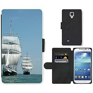 CARD POCKET BOOK CASE PU LEATHER CASE // M00421715 Barco Barco Tall Mar Vela // Samsung Galaxy S4 S IV SIV i9500