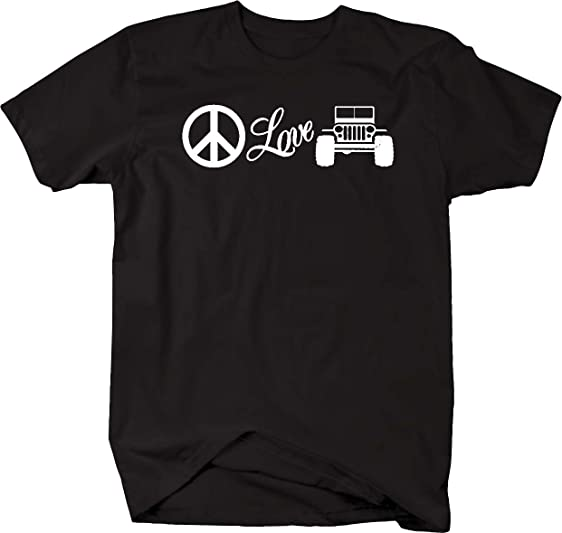 Amazoncom Peace Love Jeep Wrangler T Shirt Clothing - Jeep logo t shirt