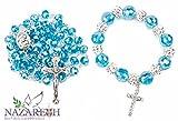 Turquoise Crystals Beads Rosary with Bracelet Set Holy Soil & Cross Handmade Jerusalem