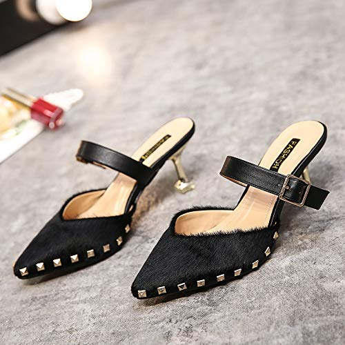 Wear Pointed Small Sexy 6Cm High KPHY Heel Rivets Thirty Heel Shoes Cold Heel And Four Fine Pink Mouth Outside Shallow Spring Shoes Summer Towing qZxvZfz