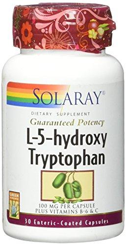 Solaray Guaranteed Potency L-5-HTP + B 6 & C 100 mg Capsules, 30 - Hydroxytryptophan Mg 100 30 Capsules
