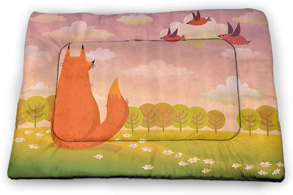 Large Dog Food Mat Cartoon Non-Slip Waterproof Animal Fox Wildlife in Valley Farm Sunset with Birds Flower Daisies Artwork 40 x 27 inch Orange Lilac Green