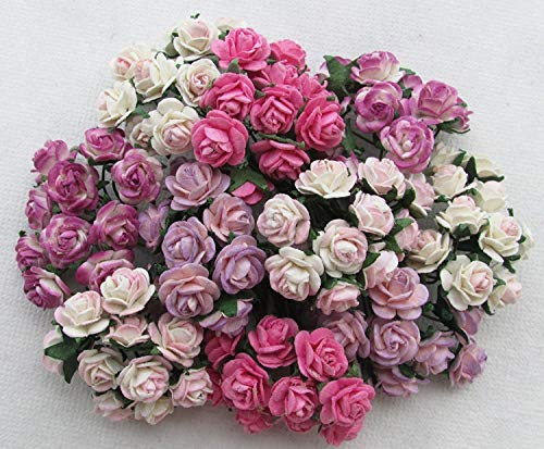 100 pcs mini Rose mixed Pink color Mulberry Paper Flower 10mm scrapbooking wedding doll house supplies card By' Thai Decorated