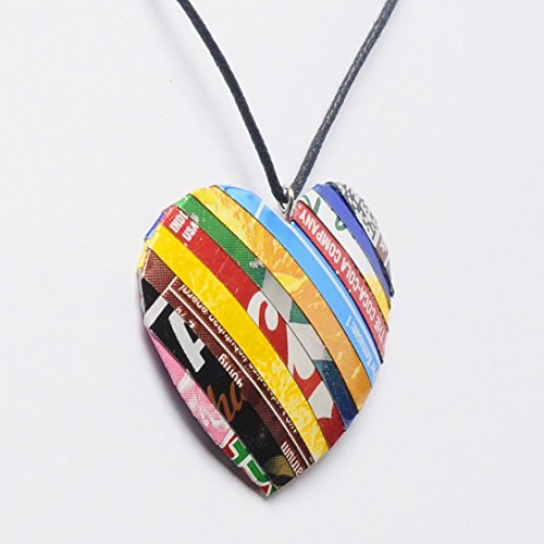 Heart necklace made of soda can - FREE SHIPPING - recycled reclaimed salvaged unique handmade coke coca cola creations Fair trade ethical fun present inspiring alternative ideas functional beautiful ()