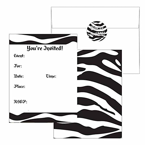 Zebra Print Invitations - Animal Print Party Supplies - Any Occasion