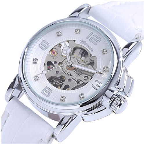Sports Automatic Self Winding Watch - Winners Women's Luxury White Simple Hollow Transparent Case Automatic Mechanical Watch Waterproof Watch (White)