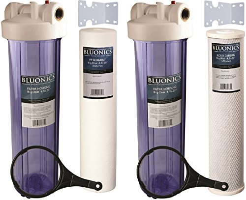 "Two 20"" Big Blue Whole House Water Filters w/ Sediment & ..."
