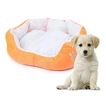 AOLVO Cama de Perro Cachemir Suave cálido Cachorro Dormir cojín sofá Perro salón Suministros Huella Huella