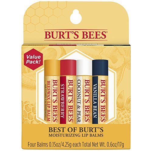 Lip Lips Balm (Burt's Bees 100% Natural Moisturizing Lip Balm, Multipack - Original Beeswax, Strawberry, Coconut & Pear and Vanilla Bean with Beeswax & Fruit Extracts - 4 Tubes)