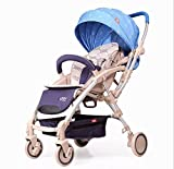 baby stroller two-way ultra-light portable folding umbrella car summer car Carriage Baby Pram Travel Portable Lightweight (Blue-b)