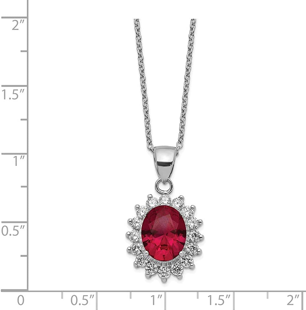 Cheryl M Sterling Silver CZ and Lab Created Ruby Necklace 18.25