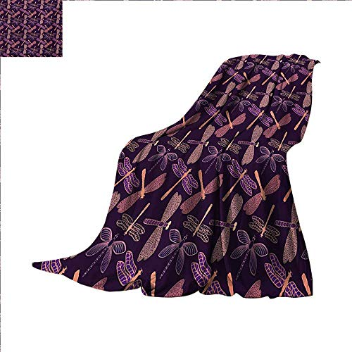 (Dragonfly Lightweight Blanket Girly Feminine Design with Stylized Vintage Vibrant Insect Animals Pattern Digital Printing Blanket 60 x 50 inch Purple)
