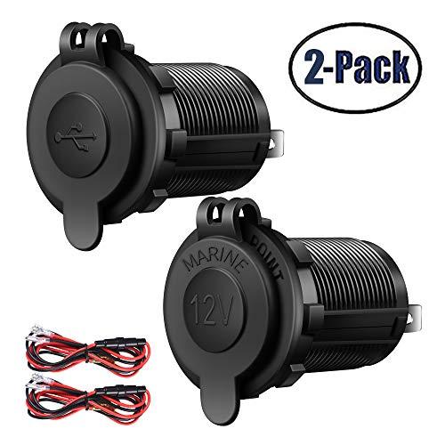 Cigarette Lighter And USB Charger Socket Car Marine Motorcycle ATV RV Lighter Socket Power Outlet Socket Receptacle 12V Waterproof Plug 2 Pack By ZHSMS