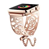 for Apple Watch Band 38mm Rose Gold Women, Floral Hollow Out Stylish iWatch Bangle with Upgraded Clasp, Stainless Steel Replacement Strap for Apple Watch Nike+, Sports, Series 3/2 / 1