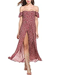 Meaneor Women Ruffe Sleeve Floral Split Summer Dress Off The Shoulder Maxi Dress
