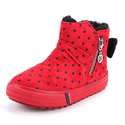 Price comparison product image Alexis Leroy Girls' Cute Bow High-Top Zipper Canvas Shoes Red 35 M EU / 3.5 M US Big Kid