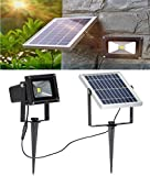 W-LITE 10W LED Solar Flood Lights Outdoor, Security Wall Lamps, 6000K, Cool White, Night Lighting, Intelligent Waterproof LED Bulb, 2200mA×2 Battery++, Rechargeable Floodlight