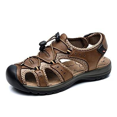 Maenner Sandalen Schuhe mit Leder Geschlossene Zehe fuer Sommer Strand Mode und Wasser Schuhe mit Klettverschluss