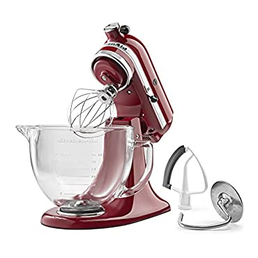 KitchenAid KSM105GBCER 5-Qt. Tilt-Head Stand Mixer with Glass Bowl and Flex Edge Beater Empire Red