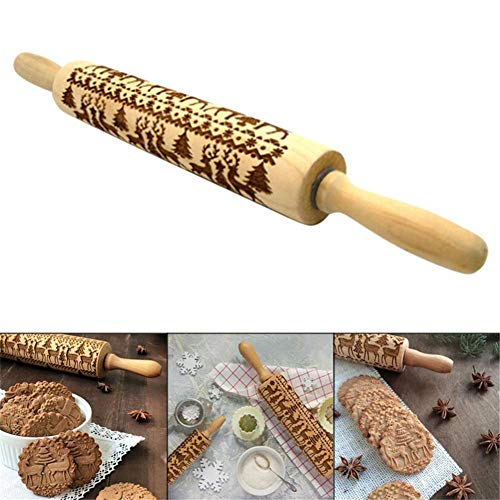 Christmas Wooden Rolling Pins, Engraved Embossing Rolling Pin with Christmas Symbols for Baking Embossed Cookies Kitchen Tool ()
