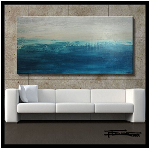 Eloise World Studio - ELOISExxx Abstract, Canvas Oil Painting, Wall Art, Limited Edition Giclee, THUNDER ROAD 60x30x1.5inch, Framed, Direct from US artist