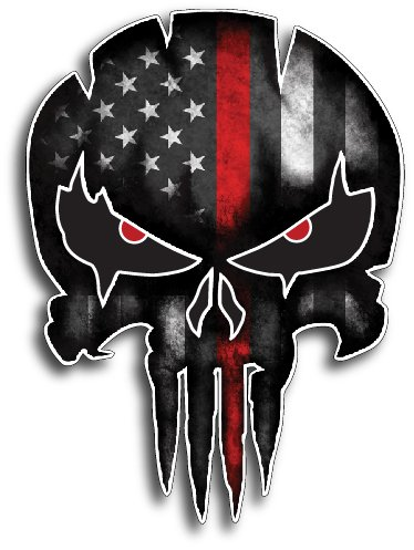 THIN RED LINE PUNISHER SKULL Fireman Firefighter American Flag Vinyl Decal Sticker Car Truck Sniper Marines Army Navy Military Jeep Graphic