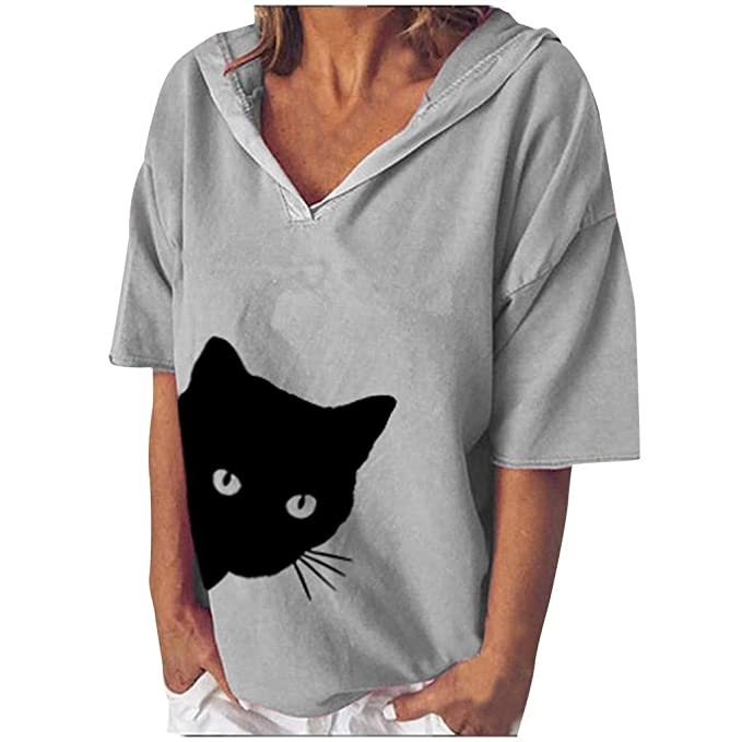 Camisa de Mujer SEWORLD Camiseta Holgada con Estampado de Cabeza ...