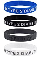 """TYPE 2 DIABETIC"" Medical Alert ID Silicone Bracelet Wristbands 4 Pack"