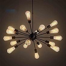 Lightess Industrial Pendant Lighting Vintage Metal Ceiling Lights DIY Chandelier Lamp with 18 Heads Black
