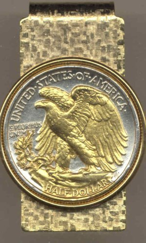 Old  U.S. Walking Liberty (Eagle side) half dollar - Gorgeously 2-Toned (Uniquely Hand done) Gold on Silver coin Hinged money clip for men for dad Christmas groomsmen birthday for him for women by J&J Coin Jewelry