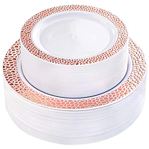 - WDF 102pcs Rose Gold Plastic Plates - White with Hammered Design Disposable Wedding Party Plastic Plates Include 51 Plastic Dinner Plates 10.25inch,51 Salad/Dessert Plates 7.5inch