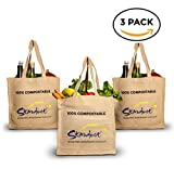 Stardust Sustainable's Best Reusable Eco Bags set of 3, Large, Organic, Compostable, Foldable, Washable Grocery Tote - Lightweight Canvas Shopping Bags with handles for shopping