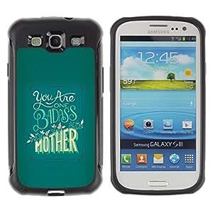 Suave TPU Caso Carcasa de Caucho Funda para Samsung Galaxy S3 I9300 / Badass Mother Day Yellow Green / STRONG