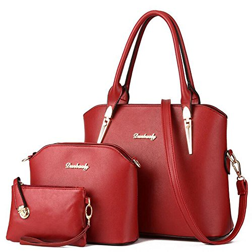 Price comparison product image Fanova Gold Women 3 PCS Shoulder Bags Hobos Packs Lady Shopper Handbags Lash Bags