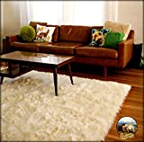 Shag Area Rug - Thick Off White Luxury Fur Carpet - Soft Faux Fur Sheepskin - Rectangle Accent Rug - Fur Accents (5'x9')