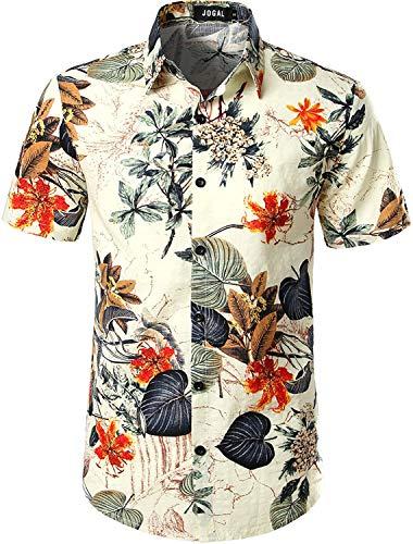 JOGAL Mens Flowers Casual Aloha Hawaiian Shirt