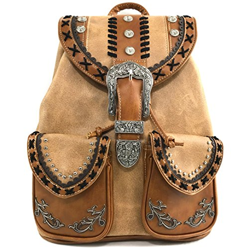 Leather Backpack Bag Handbag Purse (Justin West Trendy Western Rhinestone Leather Conceal Carry Top Handle Backpack Purse (Western Khaki))