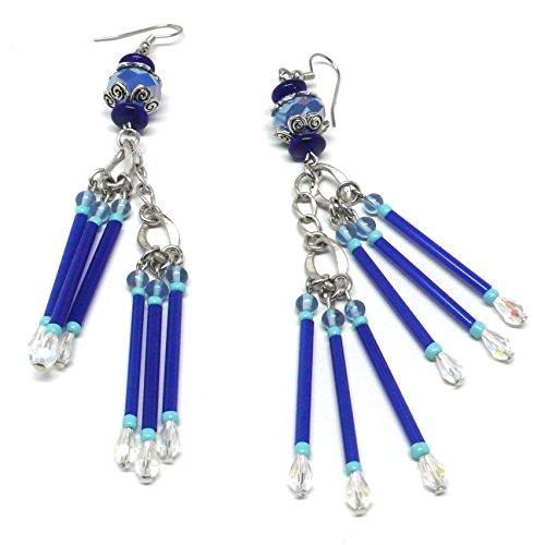 royal-blue-glass-bugle-beads-long-dangle-skinny-chandelier-pierced-earrings