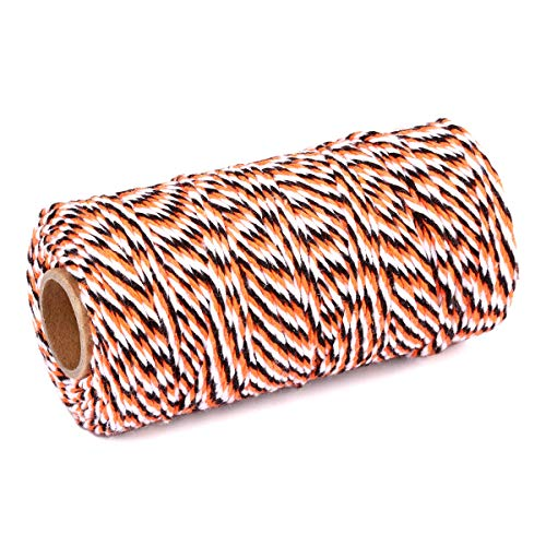 2 Roll Cotton String Rope 656 Feet Yzsfirm Orange Black and White 2mm Thick Bakers Twine for Crafts Bundling ()