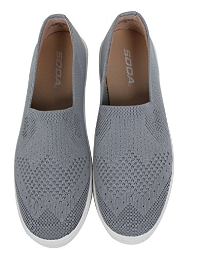Soda Womens Knitted White Rubber Sole Loafer Slip on Grey 5iEtOl