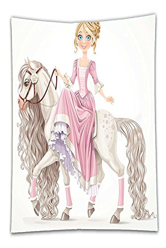 Nalahome Fleece Throw Blanket Teen Girls Decor By Pretty Smiling Princess On A White Horse With A Long Mane Happiness Theme Decor Cream - Philadelphia Indian Store