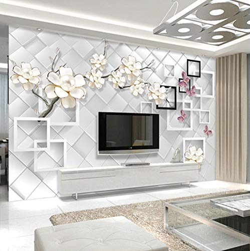 3D Wall Decorations Stickers Murals Wallpaper White Flower Jewelry Background Modern Design Bedroom Art Girls Bedroom (W)400X(H)280Cm