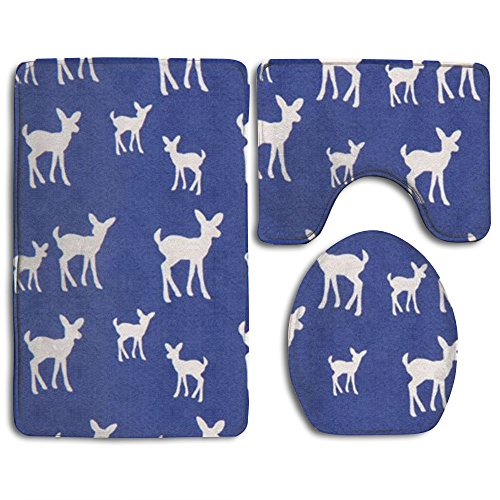 Organic Flannelette - KAHmn Blue With White Deer Organic 3-Piece Soft Bath Rug Set Includes Bathroom Mat Contour Rug Lid Toilet Cover Home Decorative Doormat