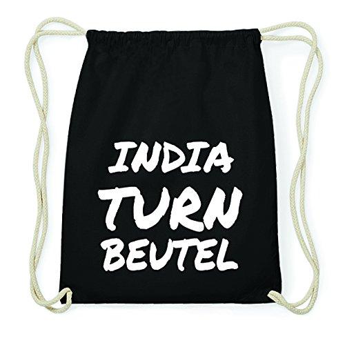 JOllify INDIA Hipster Turnbeutel Tasche Rucksack aus Baumwolle - Farbe: schwarz Design: Turnbeutel