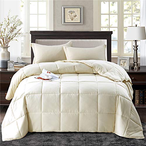 HIG 2pc Down Alternative Comforter Set - All Season Reversible Comforter with Sham - Quilted Duvet Insert with Corner Tabs -Box Stitched - Hypoallergenic, Soft, Fluffy(Twin/Twin XL, Ivory)