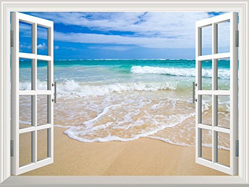 wall26 Removable Wall Sticker/Wall Mural - Beautiful Blue Caribbean Sea Beach | Creative Window View Home Decor/Wall Decor - (Caribbean Wall Mural)