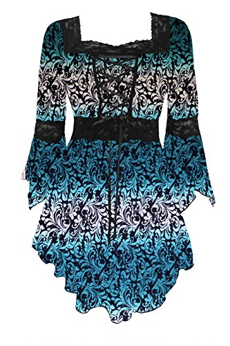 Dare to Wear Victorian Gothic Peasant Women's Plus Size Renaissance Corset Top, Teal Tide L