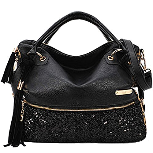 (FiveloveTwo Womens Leopard Print Tassel Sequins Handbags and Purse Totes Shoulder Bags Satchels)