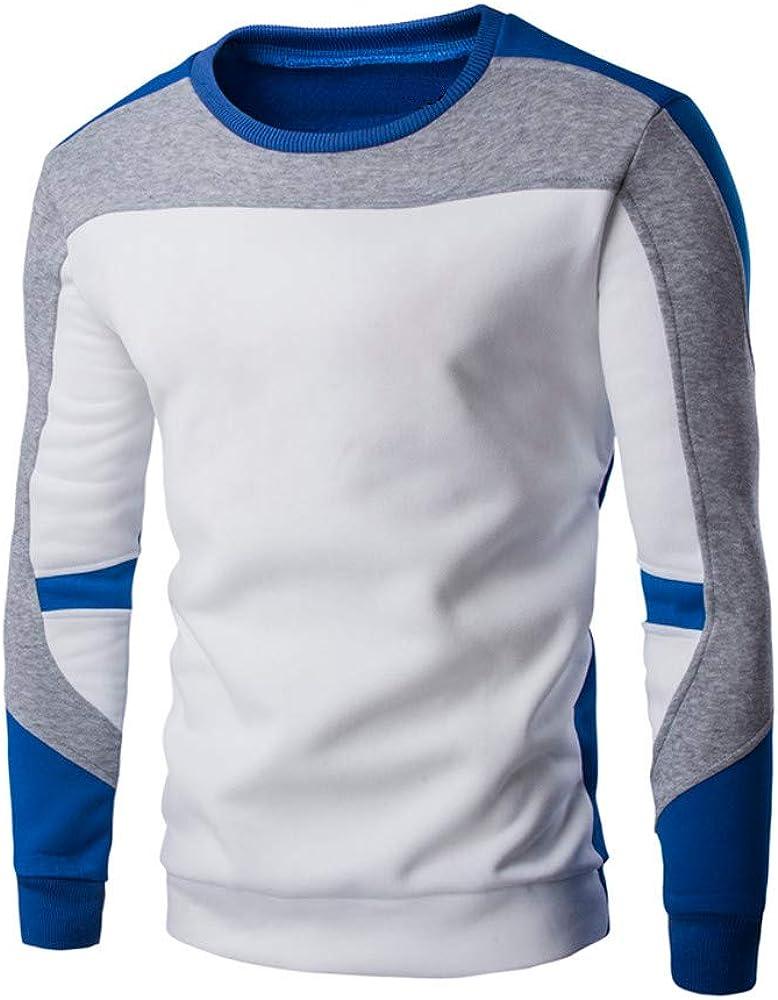 Oliviavan Camiseta para Hombre, Camiseta De de Manga Larga Blusa de Manga Larga de la Remiendo Ocasional Cuello Redondo de los Hombres Deporte Camiseta: Amazon.es: Ropa y accesorios