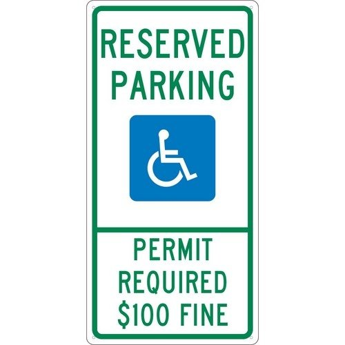 NMC TMS317G, 24''x12'' Standard Aluminum Reserved Parking Permit Required $100 Fine Sign, Pack of 10 pcs